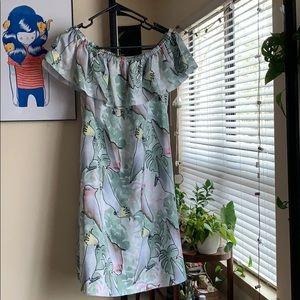 Size M off the shoulder bird print dress cacatau